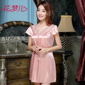 夏季女款短袖睡裙性感丝质睡衣 多色可选 有加大码