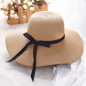 帽子女夏天防晒遮阳帽夏季可折叠太阳帽度假草帽韩版