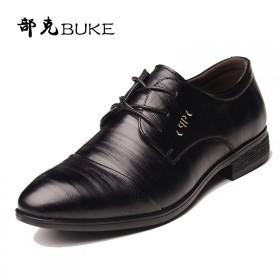 部克春季男士商务皮鞋英伦黑色正装男鞋青年休闲鞋子系