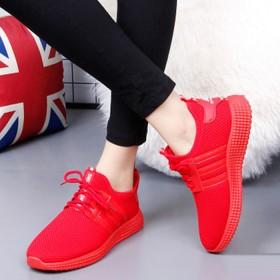 韩版运动鞋透气休闲跑步鞋潮系带鞋男女平底学生鞋