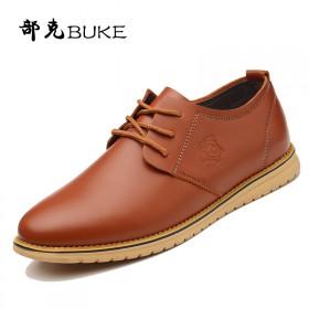 新款英伦男士休闲皮鞋圆头透气韩版潮流系带男鞋青年平