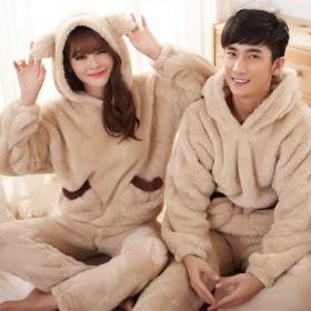 珊瑚绒可爱加厚睡衣情侣羊羔绒可爱女睡衣韩版加厚家居