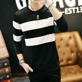 韩版圆领套头T恤日系长袖上衣外套卫衣校园风卫衣潮男