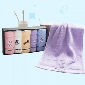洁丽雅4条装纯棉卡通可爱童巾小毛巾