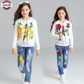 伊诺小镇春装儿童童装女童套装春秋儿童套装印花三件套