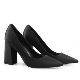 绸缎粗跟高跟鞋 真羊皮乳胶鞋垫 多色可选7-9cm