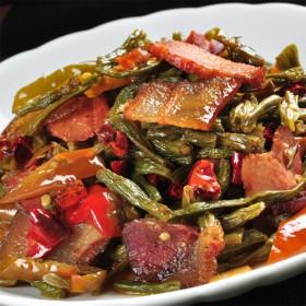 【腊肉干豇豆烹饪包】四川特色烹饪腊肉炒干豇豆美味菜