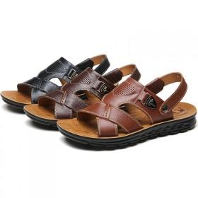 真皮正品沙滩鞋男士夏季头层牛皮透气凉鞋