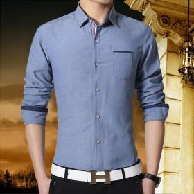 运费险 牛仔色长袖衬衫春季打底休闲衬衣修身薄