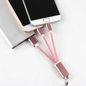 苹果安卓手机 铝合金钥匙扣尼龙编织移动充电线充电线