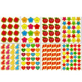 210张奖励贴五角星小红花贴纸贴画卡通粘纸笑脸幼儿