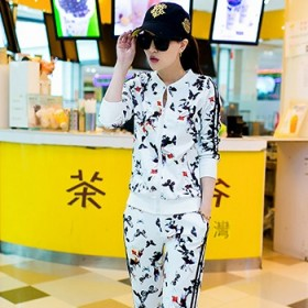 春秋装新版运动休闲女套装韩版时尚碎花修身显瘦女装运