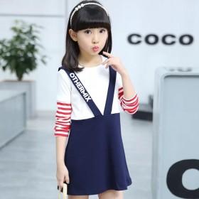 韩版拼接假两件纯棉吊带红白条纹长袖公主女童连衣裙