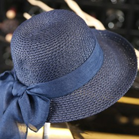 夏季沙滩帽遮阳帽女士夏天蝴蝶结草帽韩版太阳帽可折叠