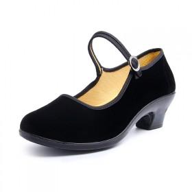 老北京布鞋女鞋黑色工作鞋高跟坡跟女单鞋