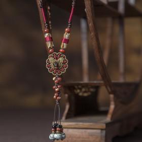毛衣链长款配饰挂件复古民族风吊坠女陶瓷饰品百搭项链