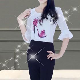 时尚名媛阔腿裤套装雪纺上衣 喇叭裤两件套女装套