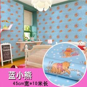 卡通壁纸自粘pvc防水儿童房墙纸自粘大学生卧室寝室