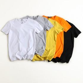 2件装 美国外贸原单 体恤圆领莱卡棉纯色打底衫短袖
