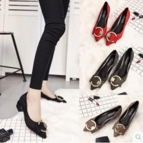 春季新款女尖头单鞋时尚方根百搭低跟磨砂套脚绒面女鞋