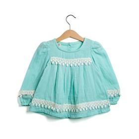 春装女童T恤长袖圆领纯棉麻料中大童打底衫娃娃装上衣