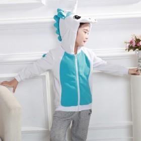 儿童卡通卫衣春秋连帽绒拉链外套可爱动漫动物夹克