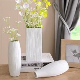 陶瓷白色花瓶简约现代时尚客厅餐桌面创意吧台干花花器