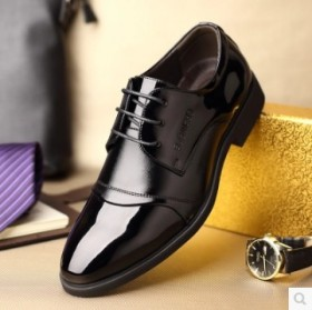 春季新款男士正装皮鞋尖头系带休闲男鞋透气商务婚鞋