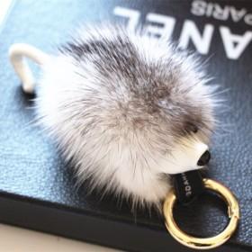 水貂刺猬真毛车钥匙挂件