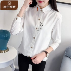 衬衫女长袖2017春装新款韩版学生宽松百搭打底衫