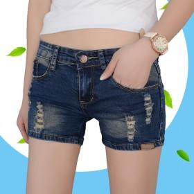 韩版牛仔短裤女夏破洞做旧弹力大码显瘦学生热裤