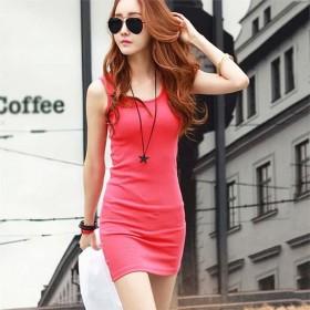包邮纯棉裙子中长款打底裙修身女装韩版背心裙包臀紧身