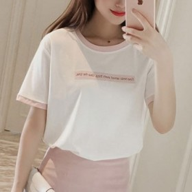 2017夏装圆领显瘦t恤刺绣字母上衣棉女修身短袖