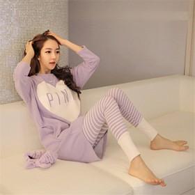韩版日系春秋款睡衣女长袖纯棉套头莫代尔甜美可爱清新