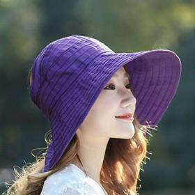 韩版夏天女士可折叠户外防紫外线出游空顶卷帽骑车遮阳