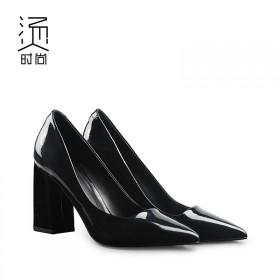 粗跟高跟鞋女春夏2017新款漆皮尖头浅口羊皮单鞋