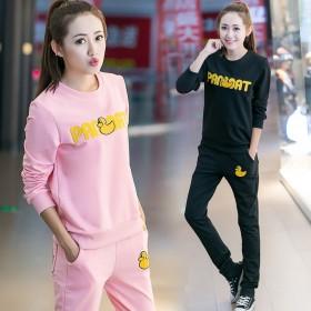 韩版运动两件套女装长袖绣花卫衣套装时尚显瘦休闲