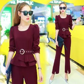 新款套装女装韩版时尚潮两件套修身显瘦休闲长裤气质