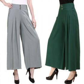 中年女裙裤棉麻妈妈裤大码显瘦九分阔腿裤