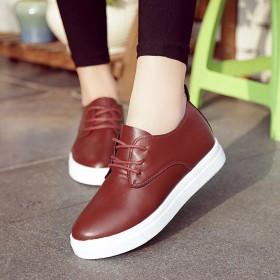 2017春季新品纯色女士单鞋系带内增高休闲女鞋