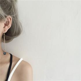 作极简风气质简约复古蓝宝石长款不对称耳环