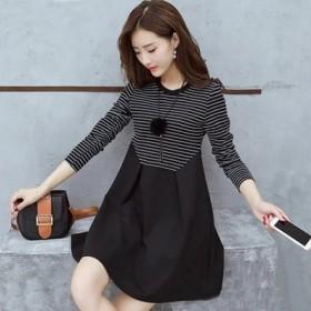 春夏装韩版新款条纹纯棉中长款大码百搭女装显瘦连衣裙