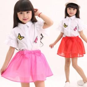 童装女童网纱裙套装中大童半身裙衬衫两件套女孩裙子