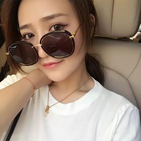 2017韩国文艺复古圆脸太阳镜女潮大框明星款墨镜