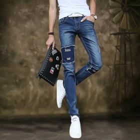 青年牛仔裤男潮男乞丐裤贴布男士休闲修身直筒高弹力