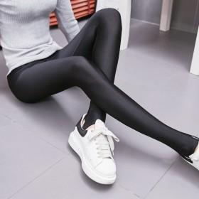 春款薄款弹力黑色小脚紧身显瘦踩脚连袜光泽裤外穿打底