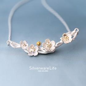 S925纯银小清新樱花项链