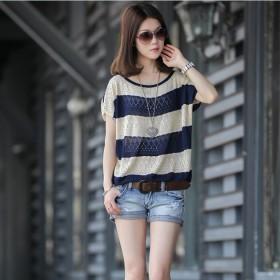 新款宽松短袖镂空罩衫大码针织网衫夏季蝙蝠袖针织衫