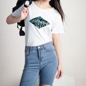 2016韩版女装夏装新款时尚印花显瘦短袖圆领T恤