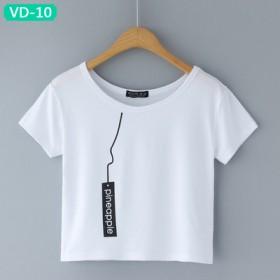 17年新款促销甜美学院风显瘦韩版印花露脐短款t恤